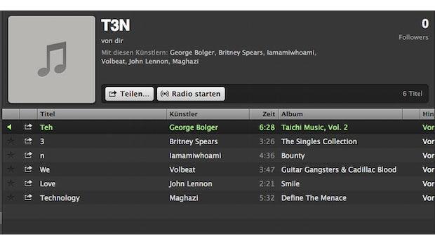 Spotify: So lässt sich mit Playlisten eine eigene Message verbreiten. (Screenshot: Spotify)