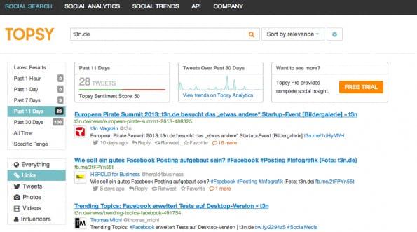 Dashboard: Topsy macht alte Tweets, Links, Bilder und Videos zu Suchwörtern auffindbar. (Screenshot: Topsy)