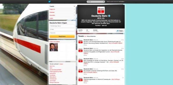 Der Twitter-Account der Deutschen Bahn. (Screenshot: Twitter)