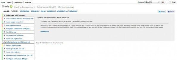 YSlow: Überprüft eure Seite anhand der Yahoo-Kriterien. (Screenshot: SLow)