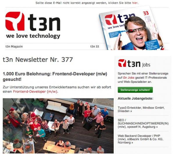 """Über den """"hier""""-Deeplink im Headbereich des Newsletters kann man das Mailing kopieren und anschließend auf die eigenen Social-Media-Auftritte an Interessierte herantragen. (Bild: Screenshot t3n.de-Newsletter)"""