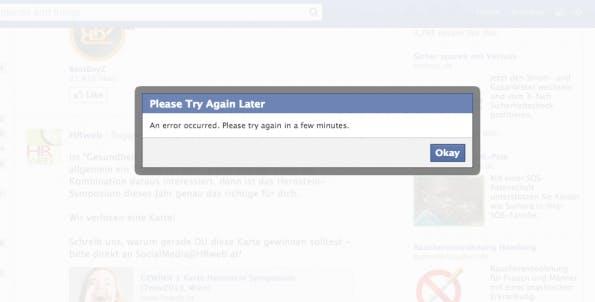 Facebook kämpft mit technischen Problemen: Interaktionen sind nicht möglich. (Bild: Facebook)
