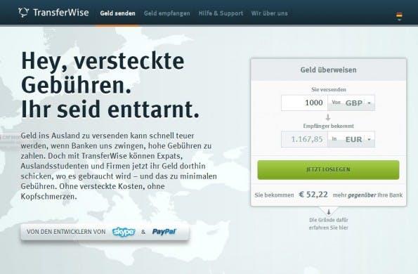 Mit Transferwise lässt sich günstig Geld zwischen verschiedenen Währungen überweisen. (Screenshot: Transferwise)