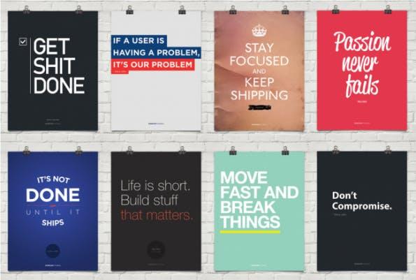 Startup-Motiviational-Posters für dein Startup. (Screenshot: t3n.de)