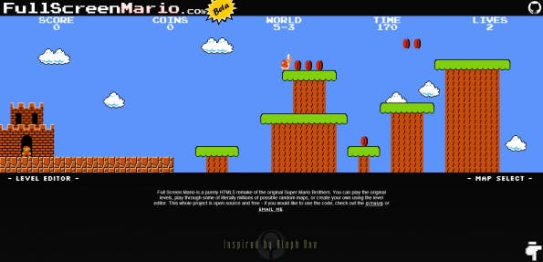 Super Mario Bros. als HTML5-Remake neu aufgelegt: Spiele den Nintendo-Klassiker im Browser.