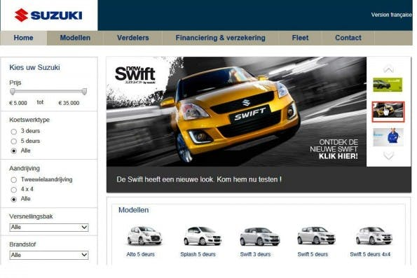 Die originale Website von Suzuki. (Quelle: Optimizely)