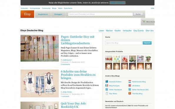 Das Startup-Etsy füllt seinen Blog mit DIY-Tipps und Workshops für Kreative. (Screenshot: Etsy)