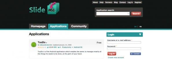 Slideme war einer der ersten alternativen Android-Märkte. (Screenshit: Slideme)