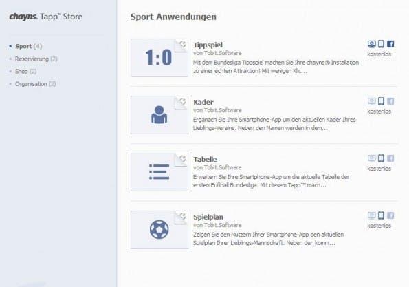 Der Tapp Store in chayns bietet kostenlose und kostenpflichtige Erweiterungen. (Screenshot: chayns)