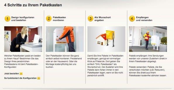 """Ingolstädter gelanten in """"4 Schritten zu ihrem Paketkasten"""", verspricht die Deutsche Post. (Quelle: paket.de)"""