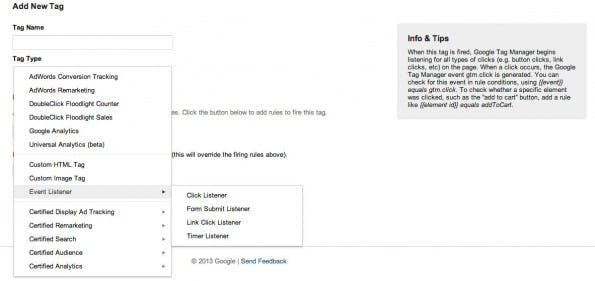 Event-Tracker: Dank Google Tag Manager ohne die Einbindung spezieller Scripts möglich. (Screenshot: Google Tag Manager)