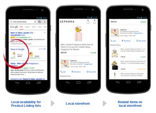 So sieht ein lokales Suchergebnis in den Google PLAs auf dem Smartphone aus. (Screenshot: Google)
