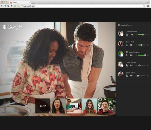 Im Control Room kann der Admin eines Hangouts die virtuelle Kamera auf einzelne Teilnehmer richten, sie aus dem Hangout schmeißen oder deren Lautstärke korrigieren. (Quelle: googleblog.blogspot.com)
