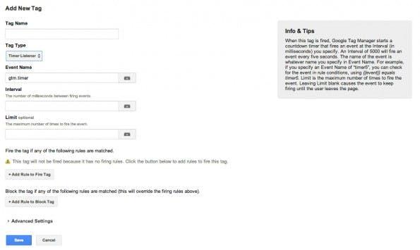 Event-Tracker: Mit dem Timer könnte man die Verweildauer der Besucher messen. (Screenshot: Google Tag Manager)