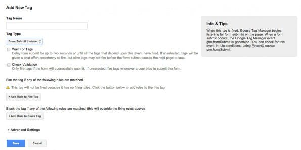 Event Tracker: Sinnvoll ist auch der Formularübermittlungs-Listener. (Screenshot: Google Tag Manager)