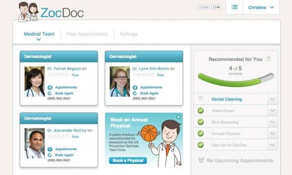 ZocDoc zählt zu den erfolgreichsten Health-Startups bisher. Die Buchungsplattform für Arzttermine spart wertvolle Wartzeit. (Screenshot: ZocDoc)