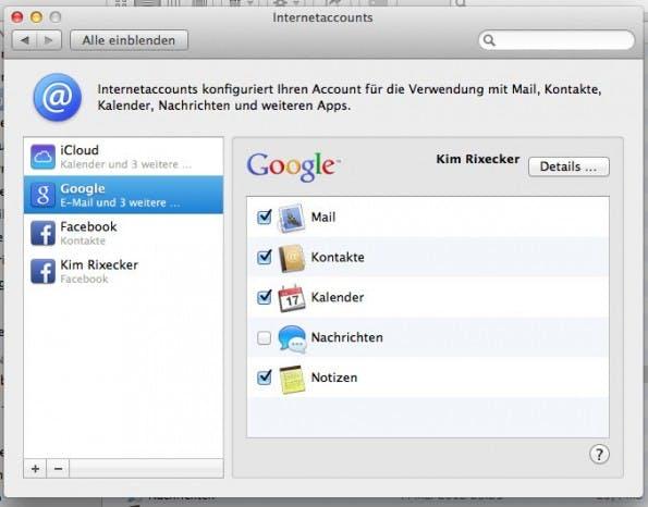 OS X Mavericks: Die Option um Google Contacts zu synchronisieren wurde an einer logischeren Stelle untergebracht.