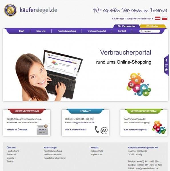 Kundenbewertungen: Der Händlerbund bietet eine Informationsseite für Verbraucher und Händler. (Screenshot: Kaeufersiegel.de)