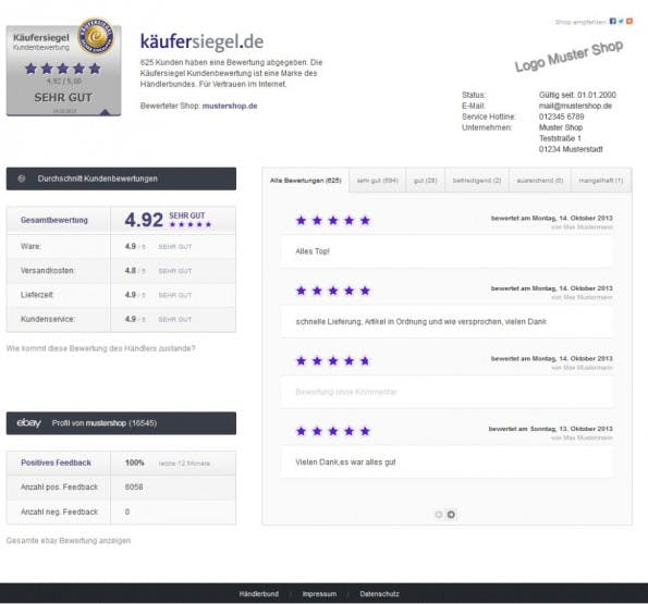 Das Käufersiegel im Onlineshop führt zu einer umfangreichen Bewertungsseite. (Screenshot: Kaeufersiegel.de)