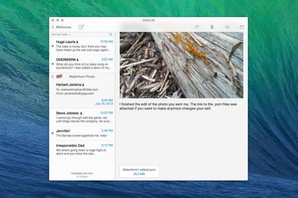 Die Mail-App von OS X Mavericks im Flat Design. (Bild: r2ds)