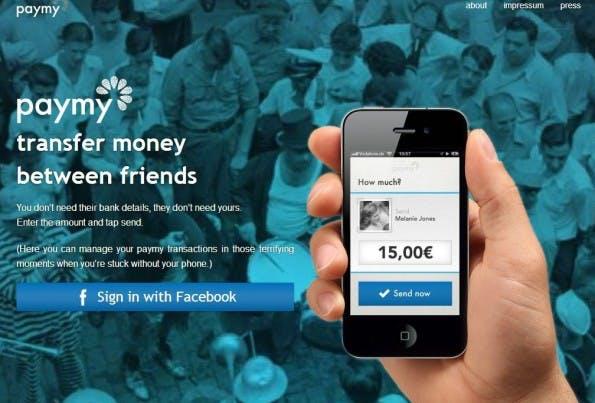 Das deutsche Start-Up paymy will Geldtransfers ebenfalls stark vereinfachen. (Screenshot: paymy)
