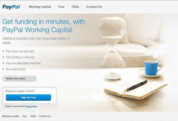 Paypal bietet kleinen bis mittleren Online-händlern ab sofort Kredit bis zu einer Höhe von 20.000 US-Dollar. (Screenshot: Paypal)
