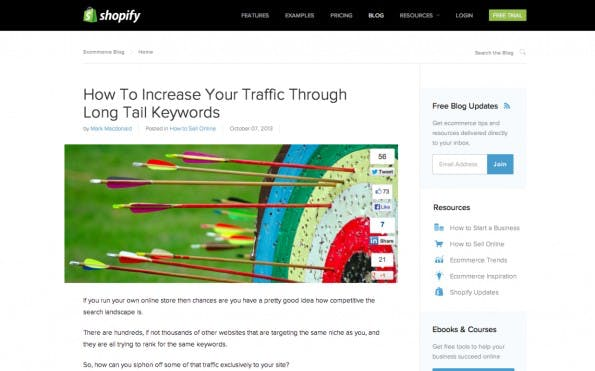 Der Blog von Shopify überzeugt mit interessanten Tipps zu Marketing und E-Commerce. (Screenshot: Shopify)