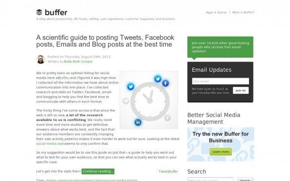 Mit abwechslungsreichen Inhalten zählt Buffer zu den beliebtesten Startup-Blogs. (Screenshot: Buffer)