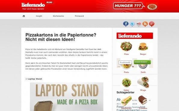 Du willst erfahren, wie man einen Tischkicker aus Pizzakarton baut? Dann lies den Blog von Lieferando. (Screenshot: Lieferando)