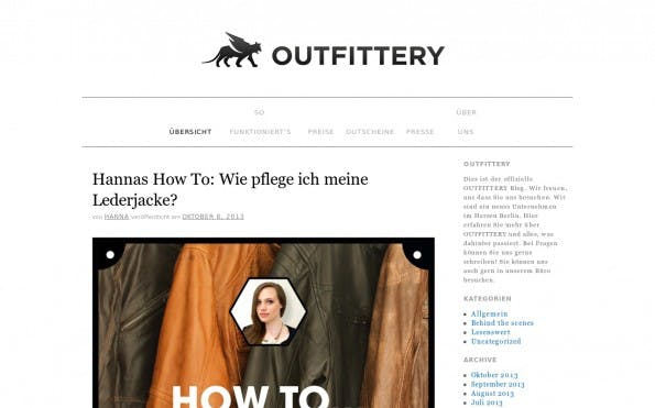 Outfittery überzeugt mit coolen Fashion-Content. (Screenshot: Outfittery)