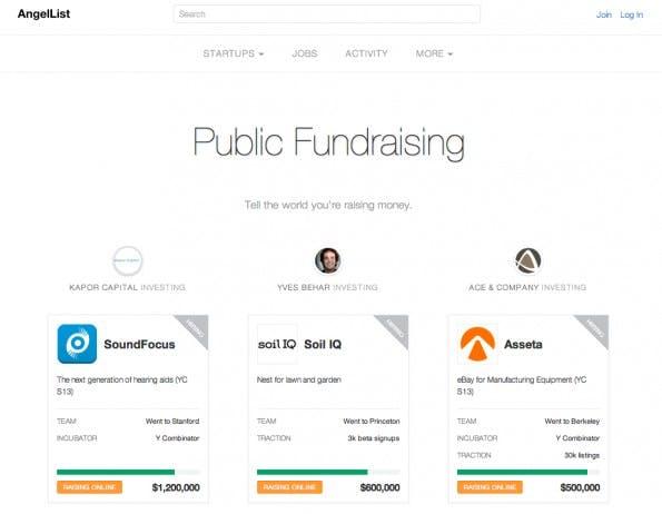 AngelList ist die bekannteste Plattform für Startups. Dort tummeln sich Nutzer und potentielle Investoren. (Screenshot: AngelList)