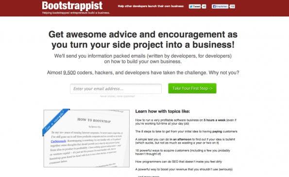 Mit einer interessanten Story bringen sich Startups in den E-Mail-Verteiler von Bootstrappist. (Screenshot: Bootstrappist)