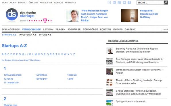 Ein Eintrag in die Datenbank von Deutsche Startups ist ebenfalls kostenlos und kann für Traffic-Zuwachs sorgen. (Screenshot: Deutsche Startups)