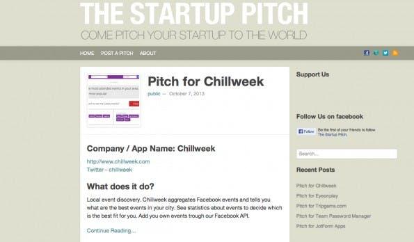 Gratis stellt Startup Pitch neue Ideen vor. Startups müssen dafür ihr Produkt erklären und die Zielgruppe bestimmen. (Screenshot: Startup Pitch)