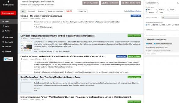 Bei SideProjectors können Startups ihre Projekte vorstellen, aber auch zum Verkauf anbieten. (Screenshot: SideProjectors)