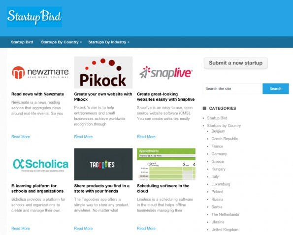 Startups mit Produkt und USP können sich kostenlos auf Startup Bird bekannt machen. (Screenshot: Startup Bird)