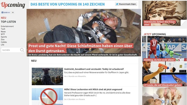 Upcoming.de: Deutscher Buzzfeed-Klon gestartet