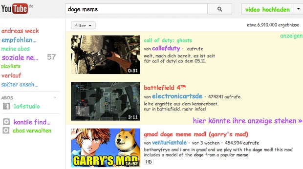 Doge-Meme-Easteregg: YouTube-Suche im Comic-Stil