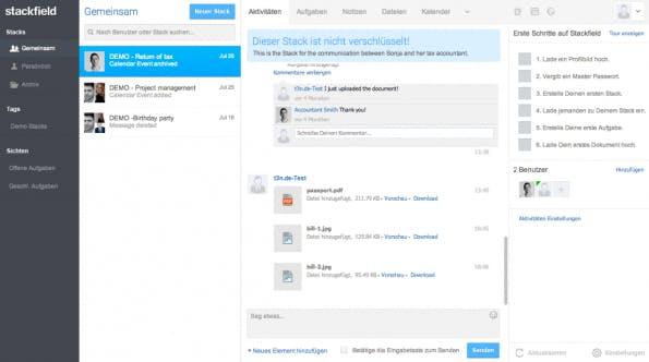Enterprise-Social-Network Stackfield: Clientseitige Verschlüsselung bietet Sicherheit. (Screenshot: Stackfield)