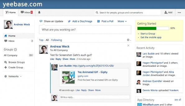 Enterprise-Social-Network Yammer: Erinnert von der Usability her stark an Facebook. (Screenshot: Yammer)