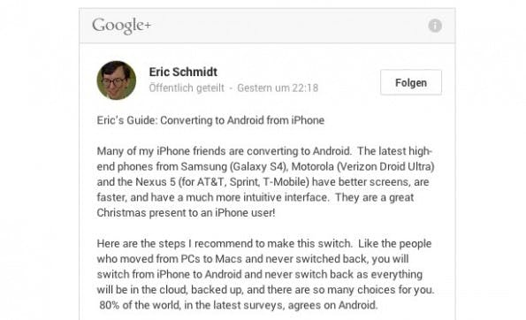 "Auszug aus dem Google+-Posting von Eric Schmidt: ""Converting to Android from iPhone"" (Screenshot: Eric Schmidt)"