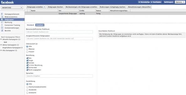 """Über """"Zielgruppe erstellen"""" und """"Gespeicherte Zielgruppe"""" können Werbetreibende definierte Nutzergruppen erstellen. (Screenshot: Power-Editor)"""