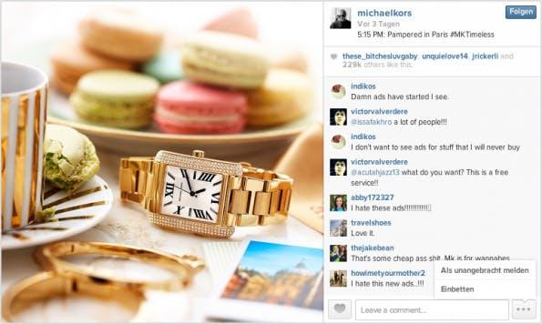 """Die erste gesponserte Instagram-Meldung, die die Nutzer erreicht hat, war ein Bild des Designerlabels """"Michael Kors"""", das eine goldene Uhr abbildet. (Screenshot: Instagram)"""