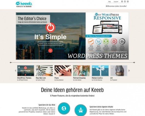 Das Hamburger Startup keeeb  ist mit der Mission an den Start gegangen Social Bookmarking intelligenter und relevanter zu gestalten. (Screenshot: Keeeb)