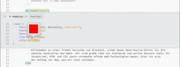 Adobe Brackets Inline Editor