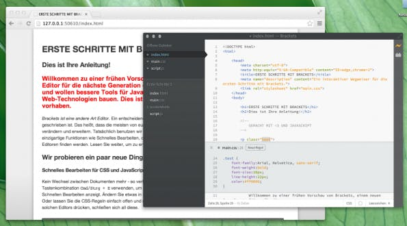 Adobe Brackets Live Editor