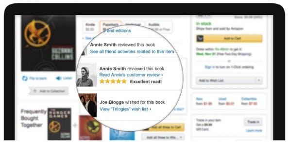 Amazon zeigt nun an prominenter Stelle Produkt-Bewertungen aus dem eigenen Freundeskreis – Facebook macht es möglich. (Screenshot: Amazon)