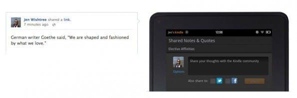Im im Kindle-E-Book-Reader können Produktbewertungen untereinander ausgetauscht werden. (Screenshot: Amazon)