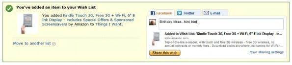 Das Teilen von Artikeln aus der eigenen Wusnchliste soll nun auch einfacher und schneller funktionieren. (Screenshot: Amazon)