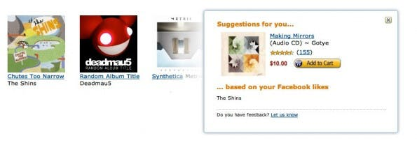Produktvorschläge von Amazon werden zukünftig auch unter Berücksichtigung der Facebook-Vorlieben erstellt. (Screenshot: Amazon)